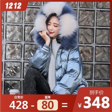熤笙靘 女裝2019冬季新品韓版連帽彩色大毛領中長款女式棉衣     Q8883