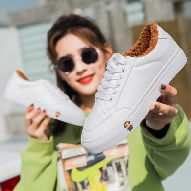 100KM?#23578;?#29492; 加绒加厚小白鞋学生韩版超纤加厚保暖百搭休闲棉靴