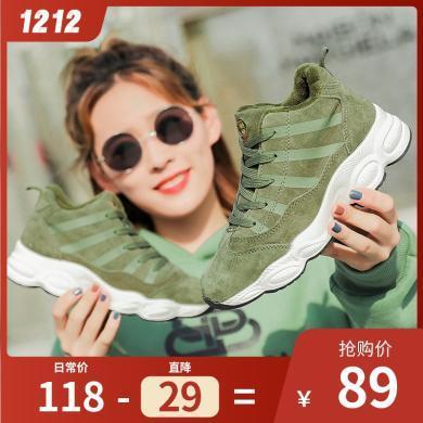 100KM猩猩猴 女鞋高幫運動棉鞋女冬季保暖加絨鞋子女新款韓版百搭
