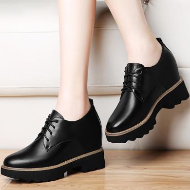 古奇天倫學院風馬丁靴冬加絨高防水臺系帶女靴子平跟隱形內增高短靴潮鞋8495