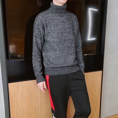 希際粗針純棉高領毛衣男麻花款加厚寬松純色針織毛衫冬季韓版男士線衣LM-MY1163