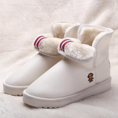 秋冬新款超纖雪地靴女中筒靴短靴棉鞋冬鞋女平底靴子