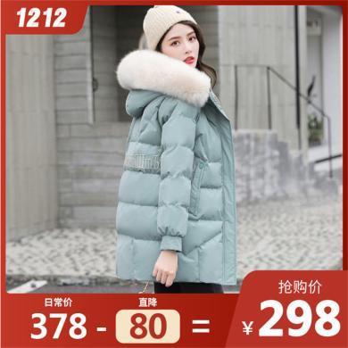 熤笙靘 女式棉衣2019新款冬裝純色中長款羽絨棉衣外套女 配毛領    CY9810