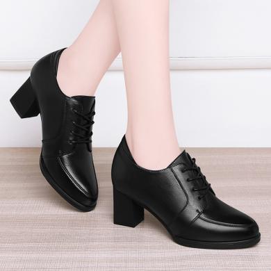 古奇天倫秋天黑色女士皮鞋皮高跟鞋女粗跟中跟秋冬工作女鞋子8890