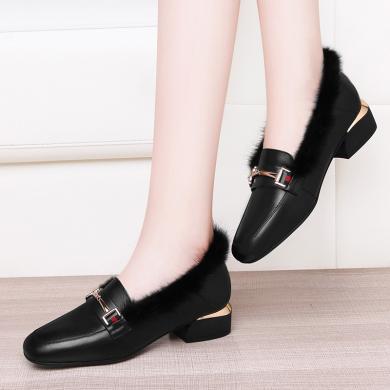 古奇天倫小皮鞋女皮黑色秋冬季軟底中跟樂福鞋軟皮舒適低跟單鞋9551