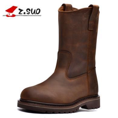 Z.Suo/走索女靴休闲靴女英伦机车靴潮流骑士靴欧美情侣靴 16009N