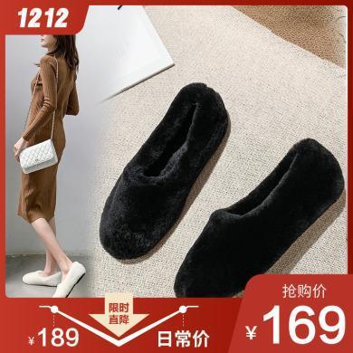 阿么毛毛鞋女冬外穿2019新款懒人一脚蹬豆豆鞋网红款加绒平底棉鞋31814ASZ3855