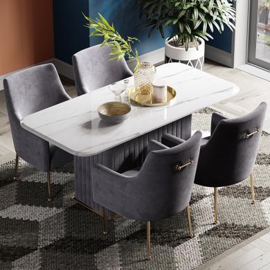 奢恩 餐桌 现代轻奢 不锈钢+布艺 +大理石 D-02