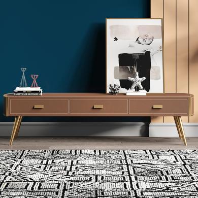 奢恩 电视柜 现代轻奢 高密度板+超纤皮+不锈钢五金  GT-011