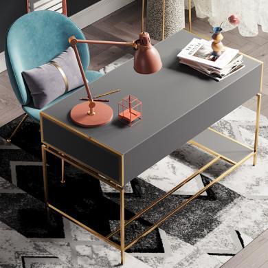 奢恩 書桌 現代輕奢 高密度板+超纖皮+不銹鋼五金 B-0087