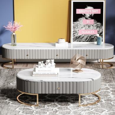 奢恩 电视柜 现代轻奢 密度板+皮质+大理石+不锈钢五金 T-01