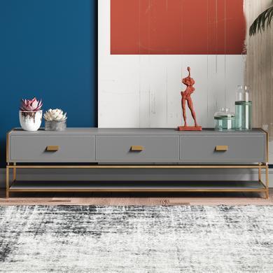 奢恩 电视柜 现代轻奢 高密度板+超纤皮+不锈钢五金 GT-003