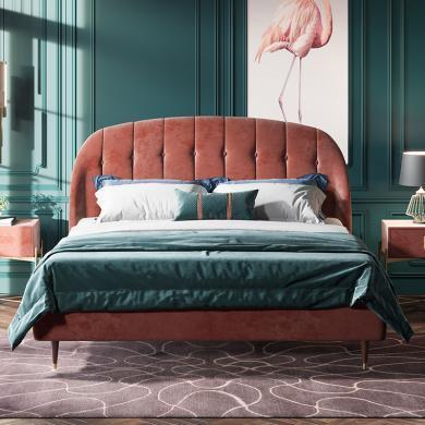 奢恩 床 现代轻奢 高密度板+实木+高回弹海绵+绒布+五金脚 XS010