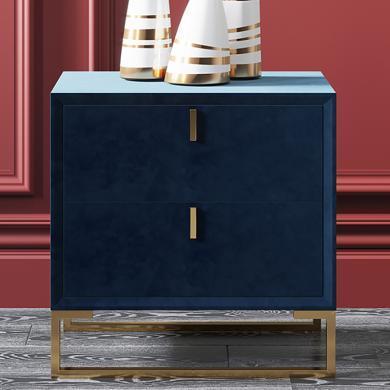 奢恩 床頭柜 現代輕奢 高密度板+絨布+五金腳 C-03