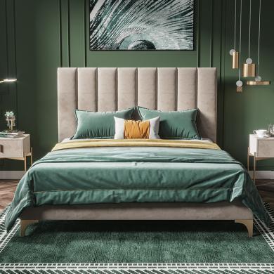 奢恩 床 现代轻奢 高密度板+实木+高回弹海绵+绒布+五金脚 XS003