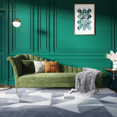 奢恩 沙發 現代輕奢 實木框架+高回彈海綿+絨布+五金腳 S-09貴妃椅