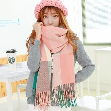 修允菲格子圍巾女冬季仿羊絨圍巾流蘇披肩女士羊毛針織圍脖RWJ1003