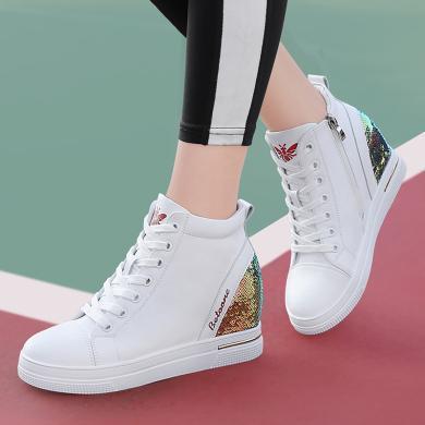 古奇天倫圓頭平底高幫鞋女新款厚底內增高女鞋單鞋帆布鞋9669