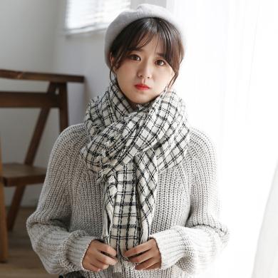 修?#21490;?#26032;款双面仿羊绒围巾女日韩甜美秋冬保暖流苏格子围巾RWJ99123