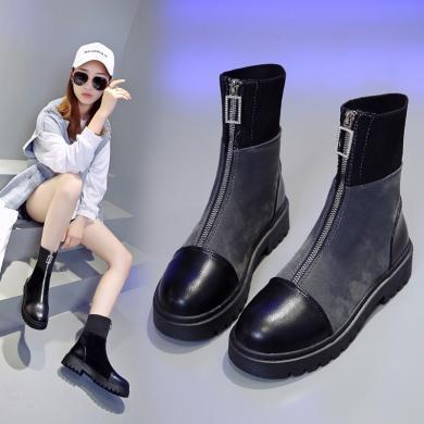 美骆世家中靴女鞋时尚飞织弹力靴厚底防滑前拉链ins马丁靴DM-668A