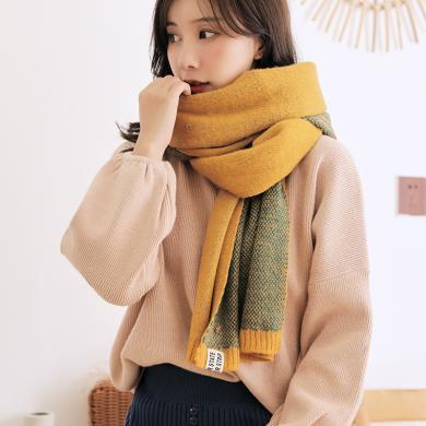 修允菲小菠蘿圍巾女冬季長款韓版學生秋冬季保暖圍脖針織款