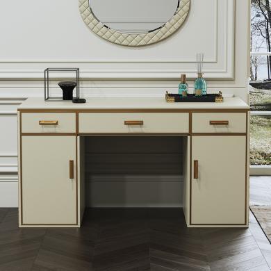 慕梵迪 梳妝臺 現代輕奢 高密度E1板+超纖皮+不銹鋼五金電鍍鈦金 ZT001