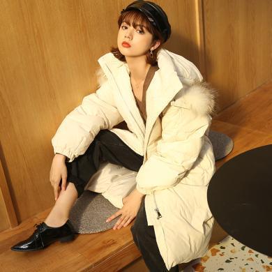 BANANA BABY2019冬季新款韓版白鴨絨加厚寬松連帽羽絨服女中長款D294YR992