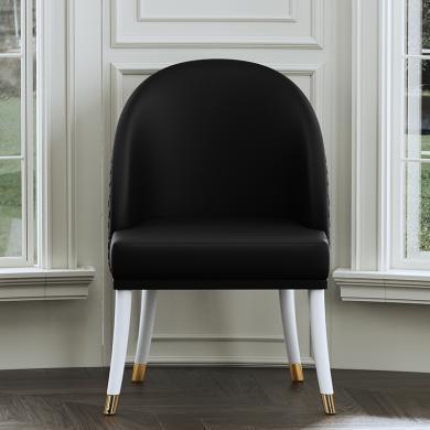 慕梵迪 餐椅 現代輕奢 實木框架+高密度海綿+超纖皮+不銹鋼電鍍五金 YX012