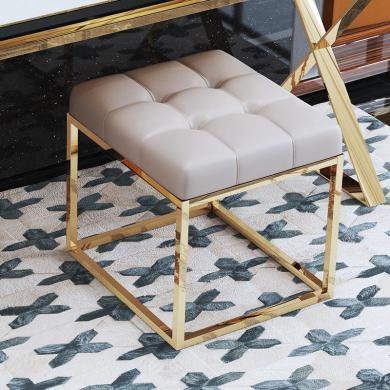 慕梵迪 梳妝凳 現代輕奢 多層實木板+不銹鋼電鍍五金 A-0013