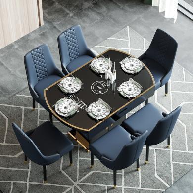 慕梵迪 餐桌 現代輕奢 鋼化玻璃+銹鋼五金+高密度板 ZD-001儲物柜