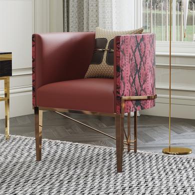 慕梵迪 休闲椅 现代轻奢 实木框架+高回弹海绵+超纤皮 YX-068