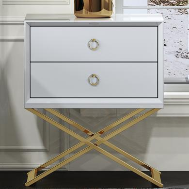 慕梵迪 床頭柜 現代輕奢 高密度板+高亮光漆+不銹鋼五金 B0039