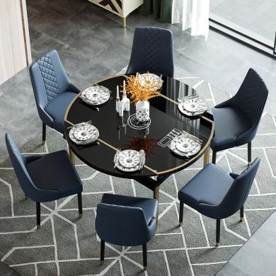 慕梵迪 餐桌 現代輕奢 鋼化玻璃+銹鋼五金+高密度板 ZD-011