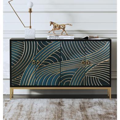 慕梵迪 玄关柜 现代轻奢 实木板+多层实木夹板贴黑胡桃+不锈钢电镀五金 XQ001