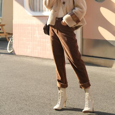 BANANA BABY2019秋冬款韓版高腰直筒顯瘦加厚復古燈芯絨休閑褲女D294KZ225