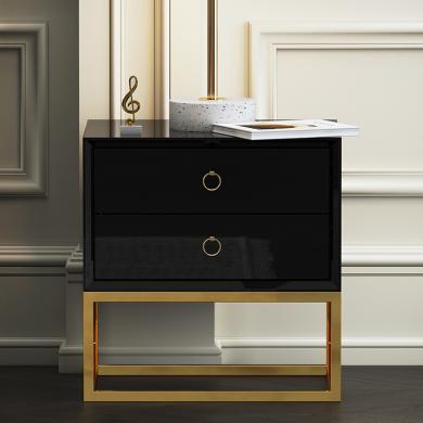 慕梵迪 床頭柜 現代輕奢 高密度板+高亮光漆+不銹鋼五金 B0040