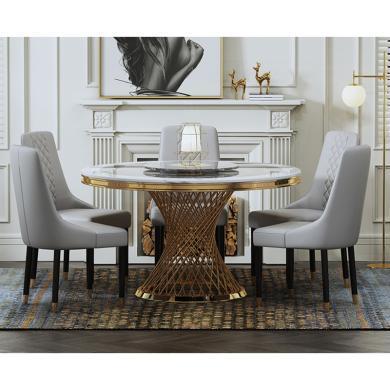 慕梵迪 餐桌 現代輕奢 大理石+不銹鋼電鍍五金 B0013-1