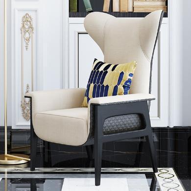 慕梵迪 休闲椅(布) 现代轻奢 实木框架+布艺+皮+高回弹海绵+不锈钢电镀五金 T0015