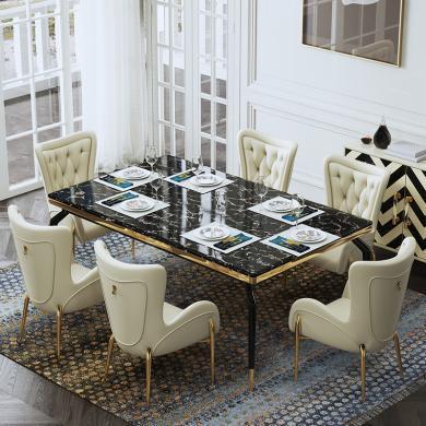 慕梵迪 餐桌 現代輕奢 大理石+不銹鋼電鍍五金 B0060