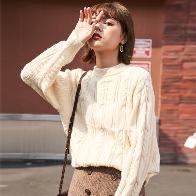 BANANA BABY2019秋冬款韓版圓領寬松套頭打底紅色針織毛衣女上衣D294MY957