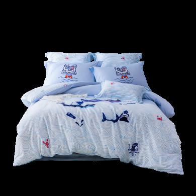 LOVO家紡 迪士尼正版授權全棉床品四件套兒童學生套件卡通床單被套 米奇航海一號