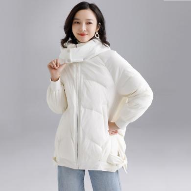 酷比兔 時尚羽絨服女裝中長款2019冬季新款純色保暖白鴨絨羽絨外套    Z6620