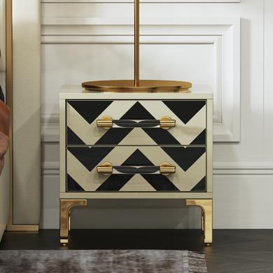 慕梵迪 床頭柜 現代輕奢 高密度板+亮光漆+不銹鋼電鍍五金 Q0006/GN006