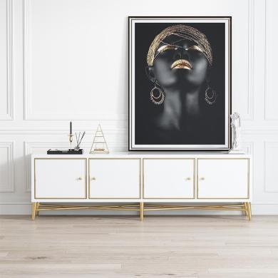 慕梵迪 電視柜1.8米(黑、白、) 現代輕奢 高密度板+高亮光漆+不銹鋼五金 B0002