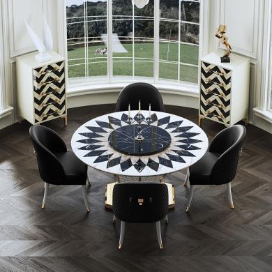 慕梵迪 餐桌 現代輕奢 高密度板+大理石+不銹鋼電鍍五金 ZD005
