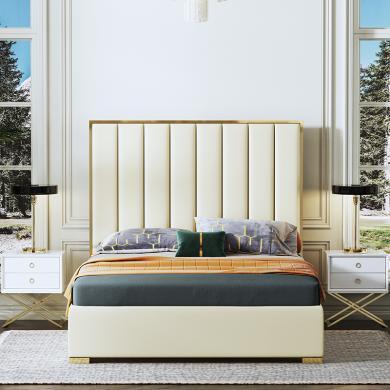 慕梵迪 床 现代轻奢 中纤板+超纤皮+不锈钢五金 C0006