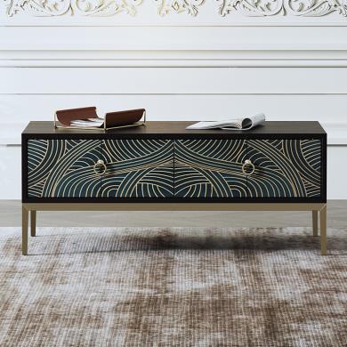 慕梵迪 茶几 现代轻奢 实木板+多层实木夹板贴黑胡桃+不锈钢电镀五金 XQ007
