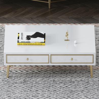 慕梵迪 茶几(黑/白) 现代轻奢 高密度板+高亮光漆+不锈钢五金 B0001
