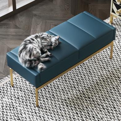 慕梵迪 床尾凳 现代轻奢 实木框架+超纤皮+不锈钢五金 D1028