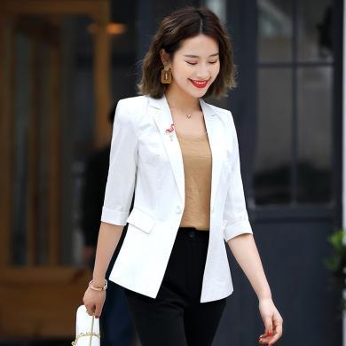 億族 西服外套秋季新款英倫風氣質五分袖小西裝修身一粒扣西服外套女